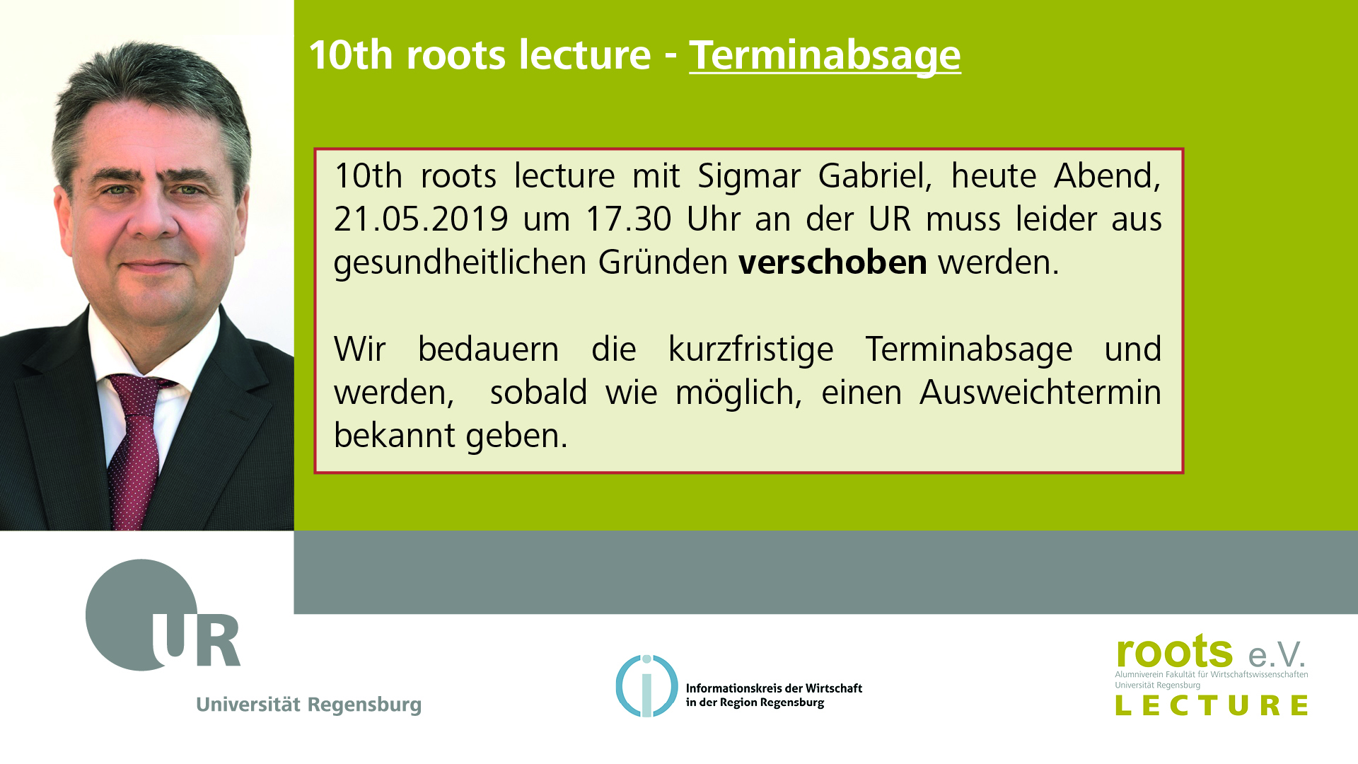 10th roots lecture - Terminabsage